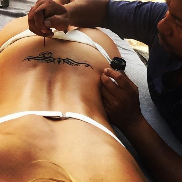 Why not... #hennatat #trampstamp #selfie wearing my #SSXPOPPY bikini
