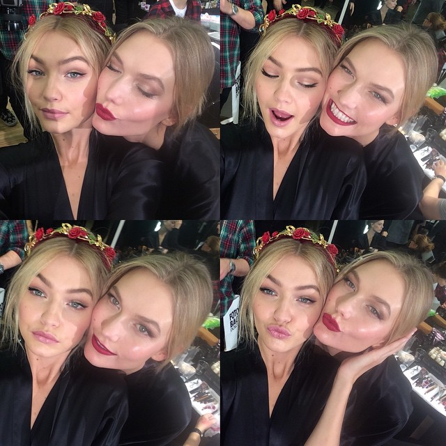 All is good when I've got my beautiful KK by my side! Showin off our makeup by @patmcgrathreal and hair by @guidopalau backstage at @DOLCEGABBANA today @tabithasimmons