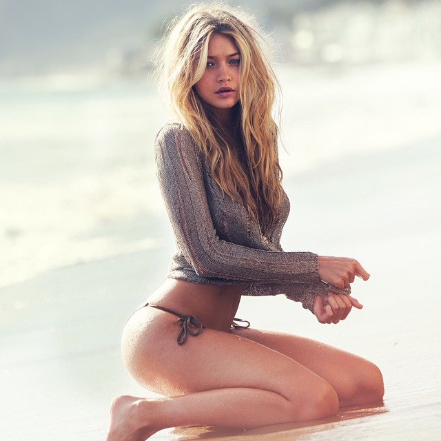 @gigihadid in Malibu, GUESS Spring 15 ,by @davidbellemere . Great Light,Amazing Body!! So BRIGITTE BARDOT Which has inspired me all my Life to create Fashion Images.