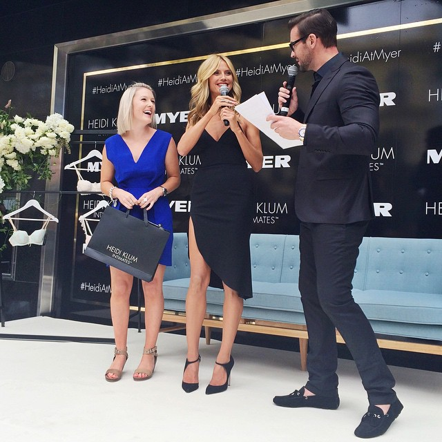One lucky winner not only got to meet @heidiklum but also got to take a #selfie with her! #heidiatmyer #heidiklumintimates #heididownunder