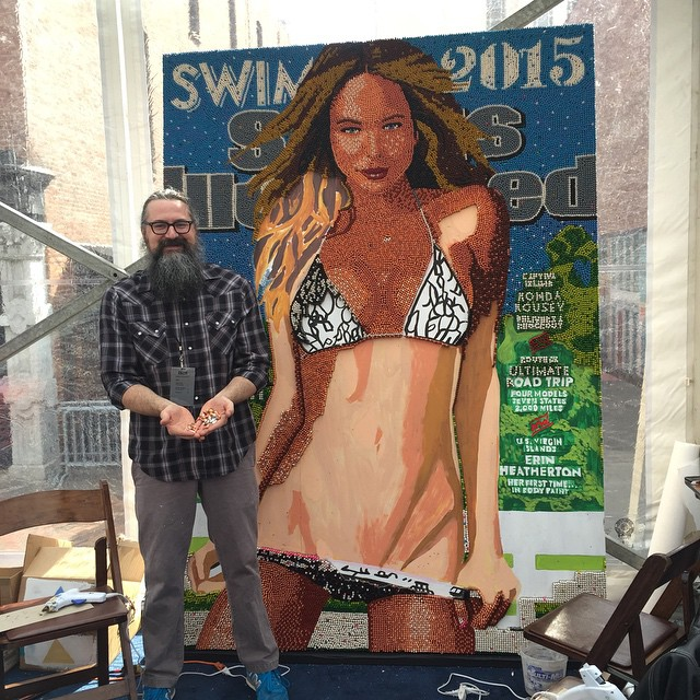 Omg @herbwilliamsart creating the worlds largest crayola murals of our #siswim cover its @hanni_davis #swimville