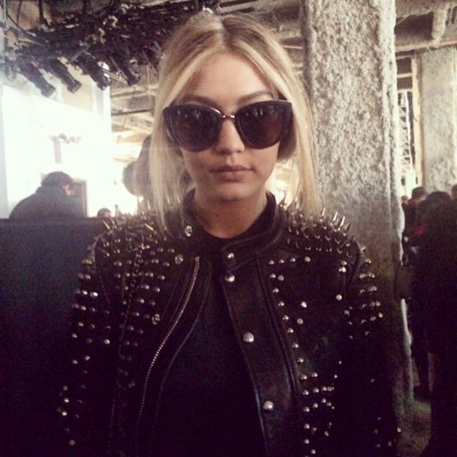 @gigihadid keeps her cool backstage at the @dieselblackgold show. #NYFW #FW15