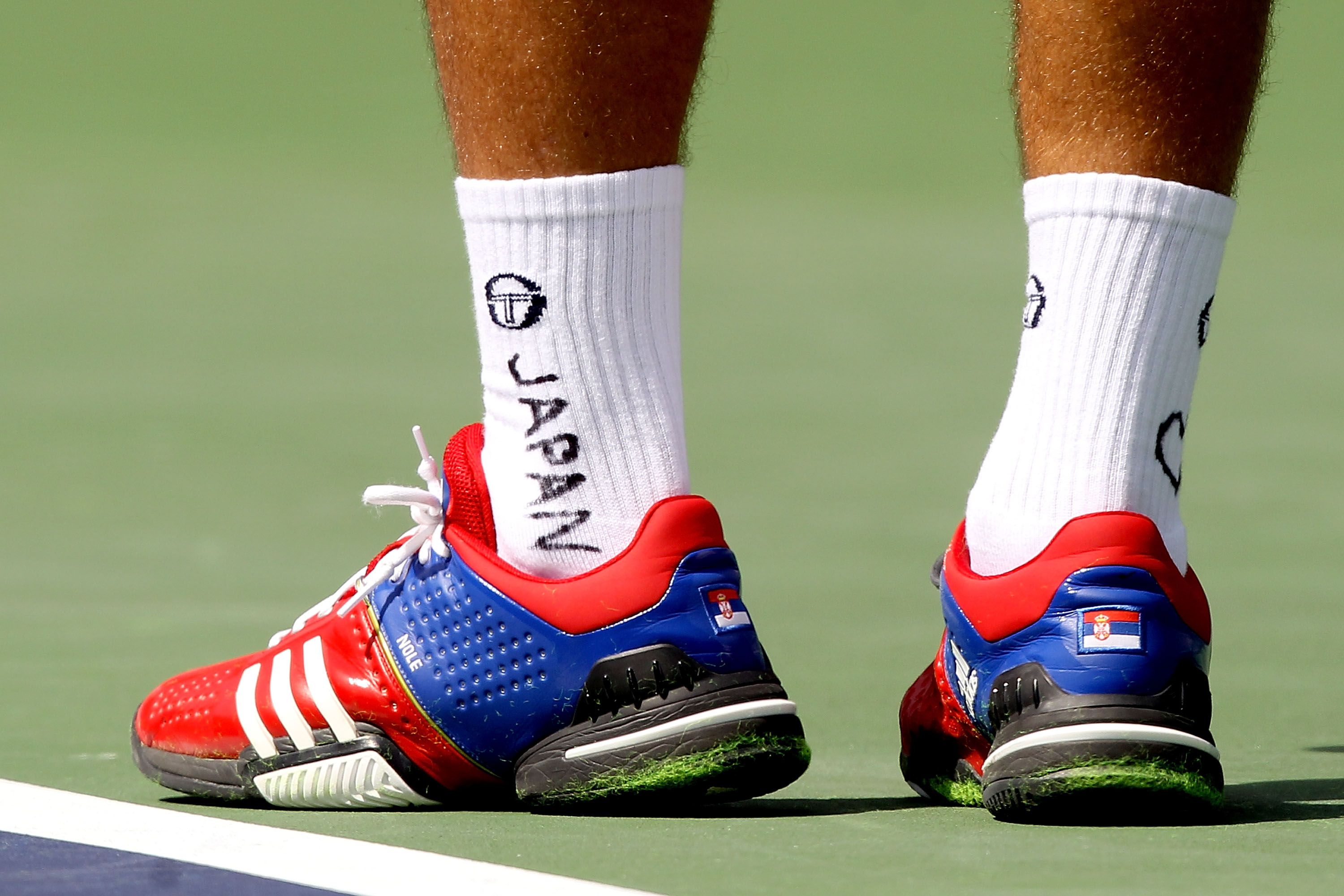Djokovic paid a tribute to Japan on his socks at Indian Wells.
