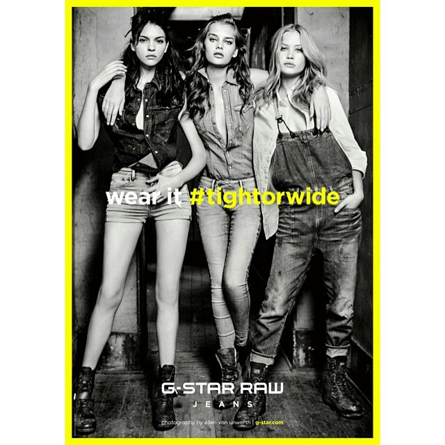 Just hanging out with these two in the new Gstar Raw campaign out now ! @camillaforchhammer @foxy1kate shot by: @ellenvonunwerth #tightorwide #gstar #jeans #blackandwhite
