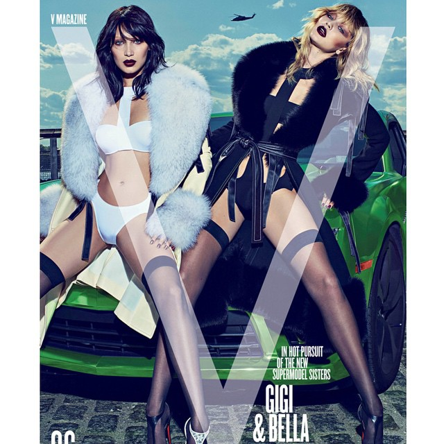 Sister, sister! Click the link in our bio to see more sexy shots from @BellaHadid & @GigiHadid's stunning photo shoot—and find out why they they'll never fight over a guy! (emoji: Steven Klein/V Magazine)