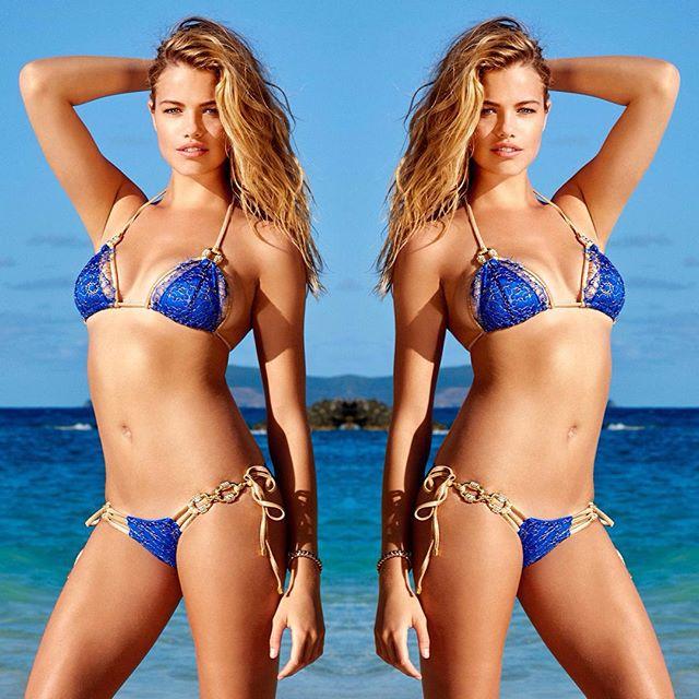 N E W N E W Own the shoreline in our all new 'Madagascar Glam' triangle top in Sapphire | #beachbunnyswim #babe #bikini
