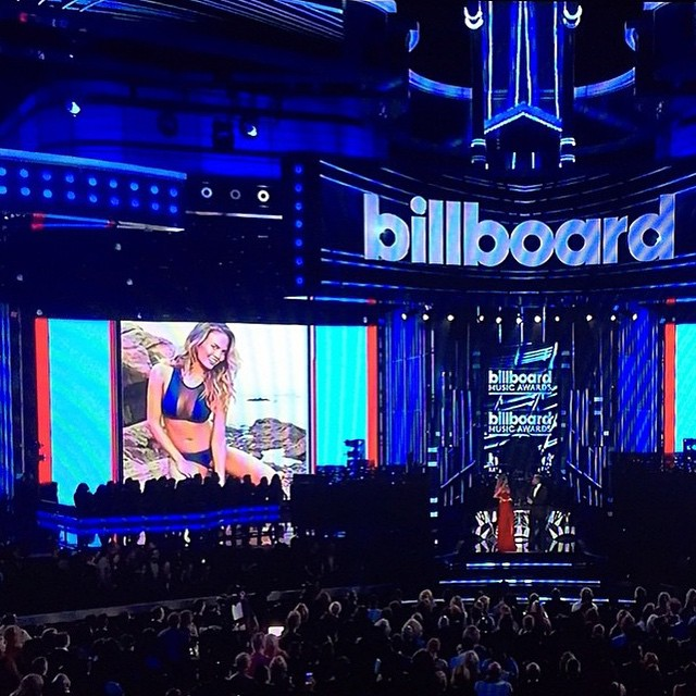 We spy @chrissyteigen in the 2015 @si_swimsuit issue at the @officialbbmas! Congrats Chrissy on being the most fabulous host ever at the #BBMAS! #regram from @tavikswimwear