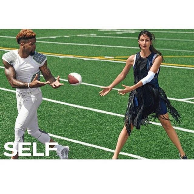 Casual game of Football with Odell Beckham Jr #NBD @SelfMagazine #PrettySureIWillMakeTheNFLDraft2016