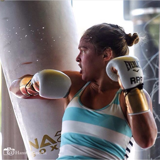 """Week 2 of camp #UFC190 #Aug1st #andSTILL lovin' the white and gold color theme for this camp Pic by @hansgutknecht P.S. I should have expected all the """"is it white and gold or black and blue!?"""" Jokes btw the black and blue themed camp was #ufc175"""