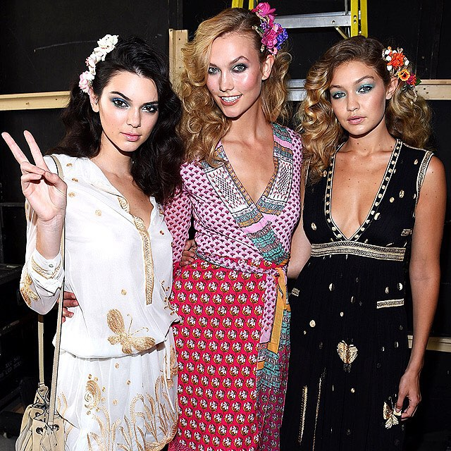 This dream team brought the glamour at the @dvf show. #NYFW #KendallJenner, #KarlieKloss and #GigiHadid | Dimitrios Kambouris/Getty