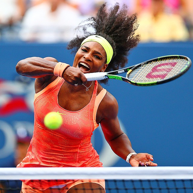 Serena Williams of the United States in action against Kiki Bertens of the Netherlands during the Women's Singles Second Round match on Day Three of the 2015 US Open at the USTA Billie Jean King National Tennis Center on September 2, 2015 in New York City. Photo for Sports Illustrated. @usopen @ustennis
