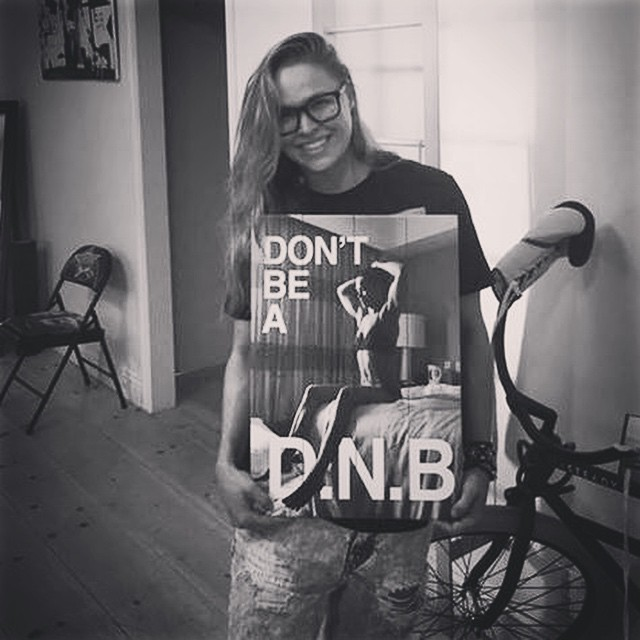 Just 3 days left to get your Don't Be A #DNB apparel: represent.com/ronda (link in bio) Over 36,000 already committed to not being a D.N.B... I'm so proud of all the money the campaign has raised for Didi Hirsch - the crew at Represent.com even had this sign made for me to commemorate it