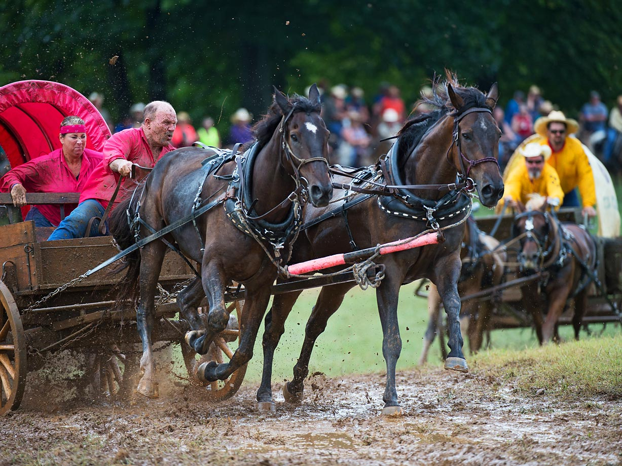 """Driver Buddy Prestidge and cook Kellie Morton of Team """"Who's Ya Daddy"""" Race their Classic Wagon in the Classic Wagon Division. These wagons have to weigh at least 1000 lbs in order to qualify."""