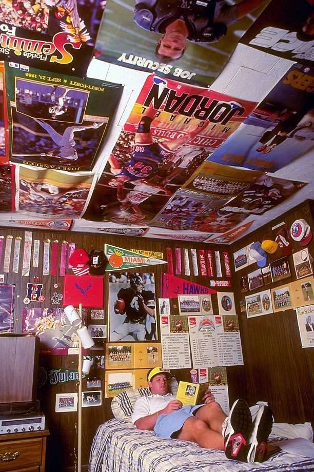 You might expect the NFL's most exciting young quarterback to be living like a high roller. But for 23-year-old Brett Favre, pictured at home in 1993, the adolescent décor of his childhood bedroom suited him just fine.