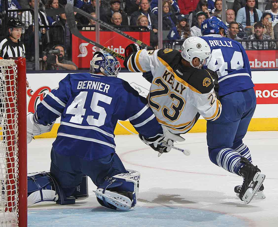 Between slumps and injuries, it's been a rough first month for the Maple Leafs and Bruins, who did battle at Toronto's Air Canada Centre on Oct. 25, 2014.
