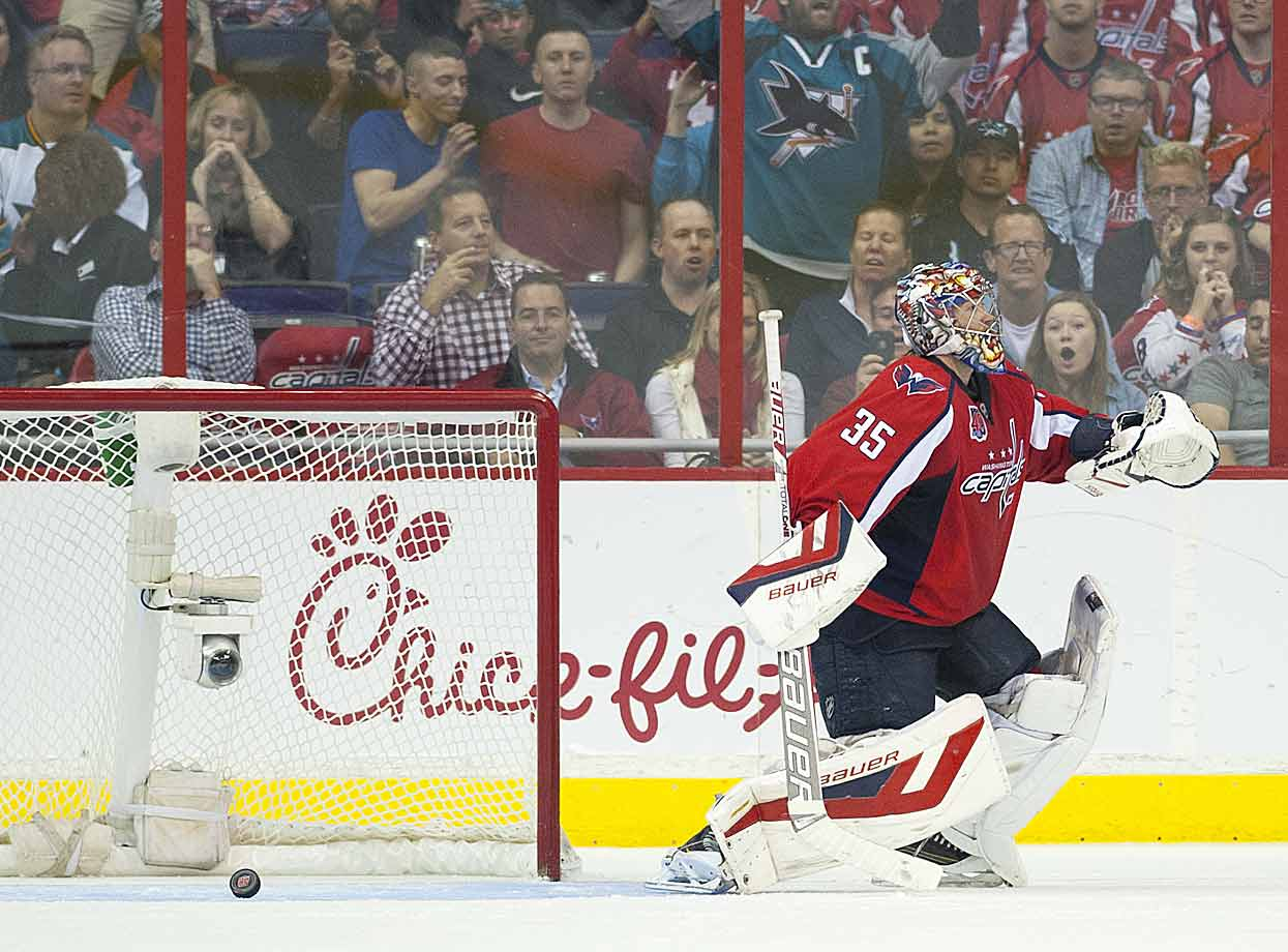 The Doh! moment: The shootout game-winner by San Jose's Joe Pavelski eluded Capitals goalie Justin Peters but not the attention of his team's fans at DC's Verizon Center on Oct. 14.