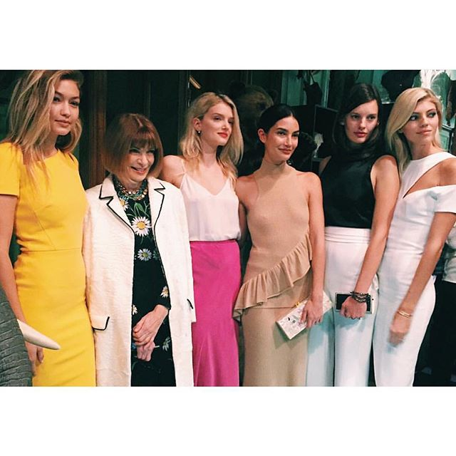 A couple of #IMGirls joined Madam Wintour for a night of taxidermy with @tumitravel + @cfda.   L-R: @GigiHadid @LilyMDonaldson @LilyAldridge @AmandaJeanMurphy + @DevWindsor. #PFW