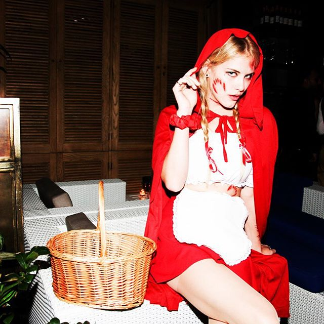 Whose ready for #halloween2015 last year I was little DEAD riding hood at #thebyrnenotice #soho #Mondrian #OMGisthatblood party. What should I be this year?