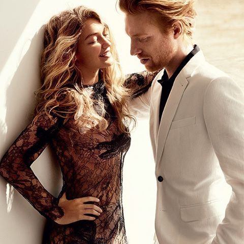 Star Wars' Domhnall Gleeson is totally smitten with Gigi Hadid—can you blame him? ( Mario Testino/VOGUE)