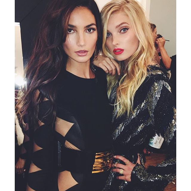 One more before the sexiest show on earth! @lilyaldridge and @hoskelsa serving some 80's glam at the #vsfashionshow pre show!