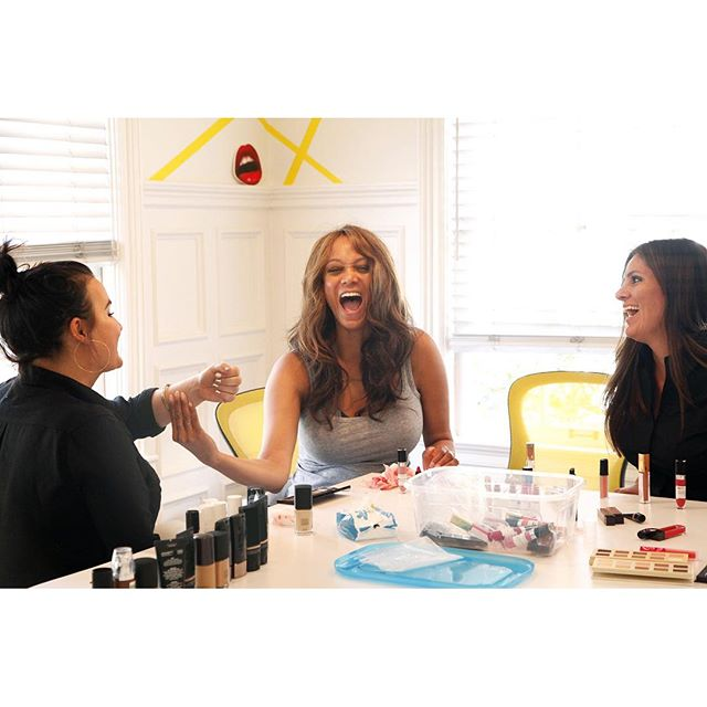 #Squad goals. Laughin' and lovin' new lip colors with my @tyrabeauty crew!