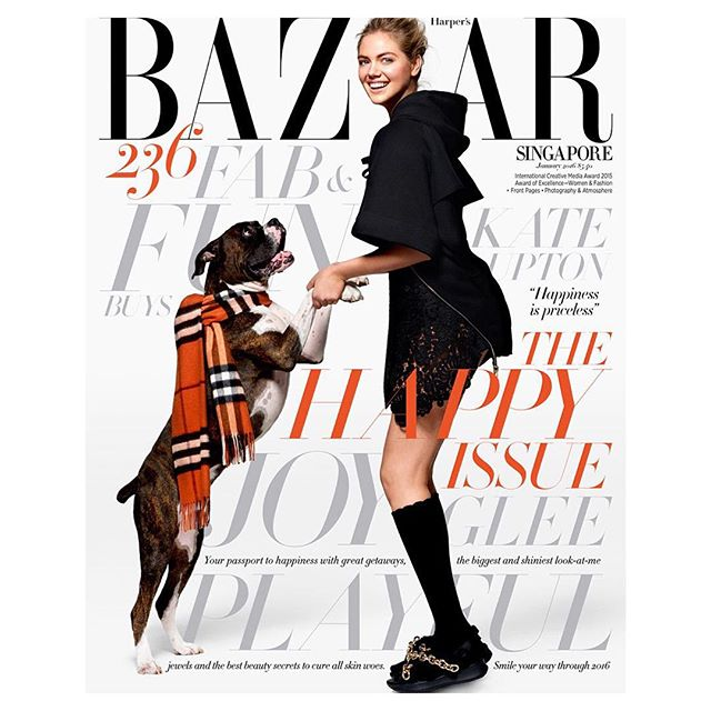 My first @harpersbazaarsg cover with my dog #Harley in @Burberry by the talented @yutsai88 Editor in Chief @kennieboy Makeup @rachel_goodwin Hair @jrugg8 Styling #martinanilsson Nail @christinaviles