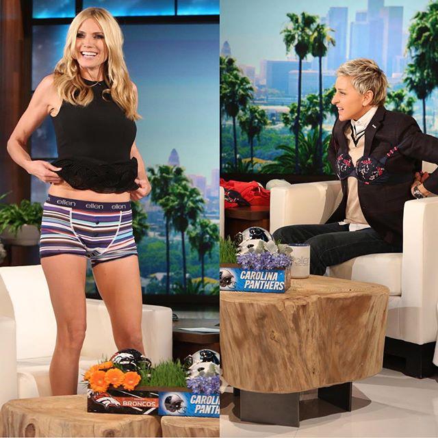 Talking underwear with @TheEllenShow today! Looking good in @heidiklumintimates, Ellen!! #ValentinesDay
