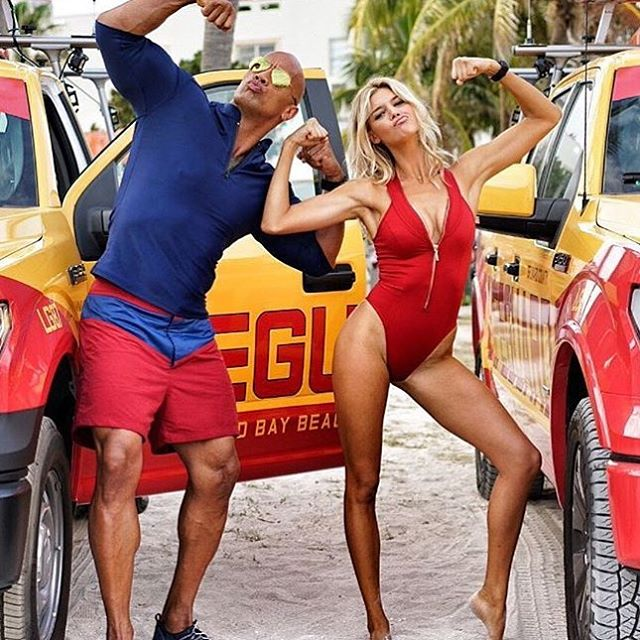 Muscle contest with @therock .... I feel like I won. #BAYWATCH baby!