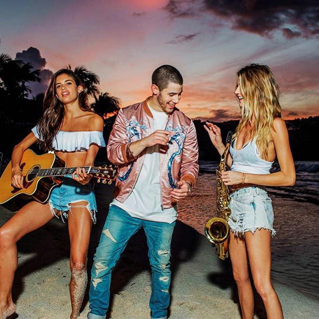 #Repost @nickjonas ・・・ Throwback to me and my new band members @sarasampaio and @marhunt in St. Barth make sure to tune into the Victoria Secret swim special airing on March 9th on CBS. I'm performing and so is @ddlovato