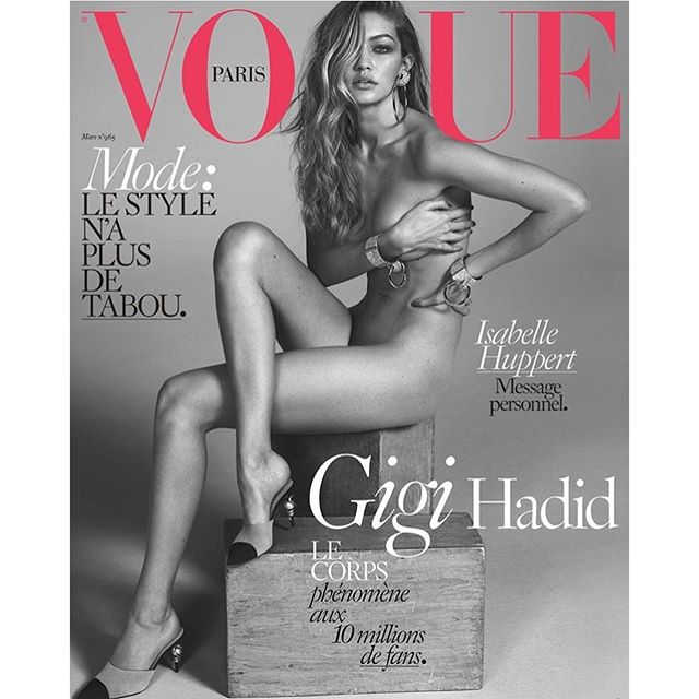 #FLAWLESS @gigihadid bares it all on the cover of @vogueparis firefirefire#gigihadid #vogueparis #modelsoncovers