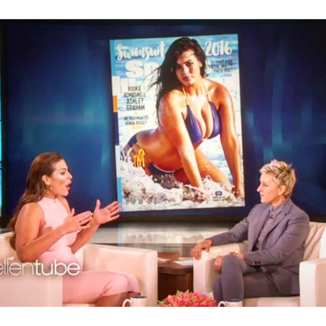 Not everyday your cover is shown to millions of people over and over. @theashleygraham taking the world by force on the @theellenshow @ellen_degeneres never can thank you enough to @mj_day @si_swimsuit @imgmodels