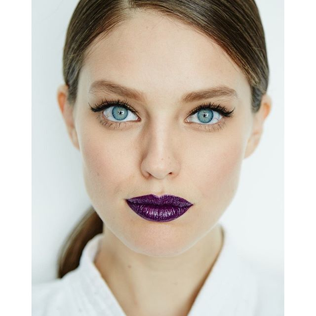 A serrrriously bold lip by @charlottewillermakeup hair by @kennalandny photo by @salessi @maybelline #maybellinegirls #BTS