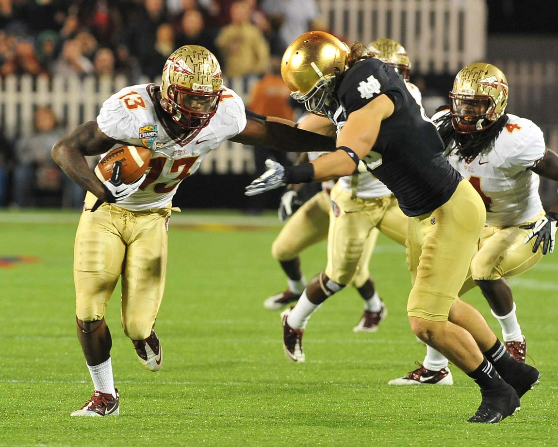 2. Notre Dame at Florida State (Oct. 18, TBD): Since meeting in an unremarkable 2011 Champs Sports Bowl, each team has played in a BCS championship game. With the return of reigning Heisman winner Jameis Winston, wide receiver Rashad Greene and a cast of future NFL millionaires, the Seminoles should be in national title contention again come this matchup. Notre Dame, which brings back quarterback Everett Golson after a year in academic exile, might not be on the playoff short list, but a win here would go a long way toward impressing the committee and attaining the ranking to at least reach the Orange Bowl.