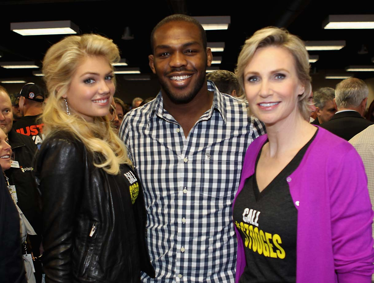 Jon Jones' celebrity has risen pictured here with the likes of Kate Upton and Jane Lynch.