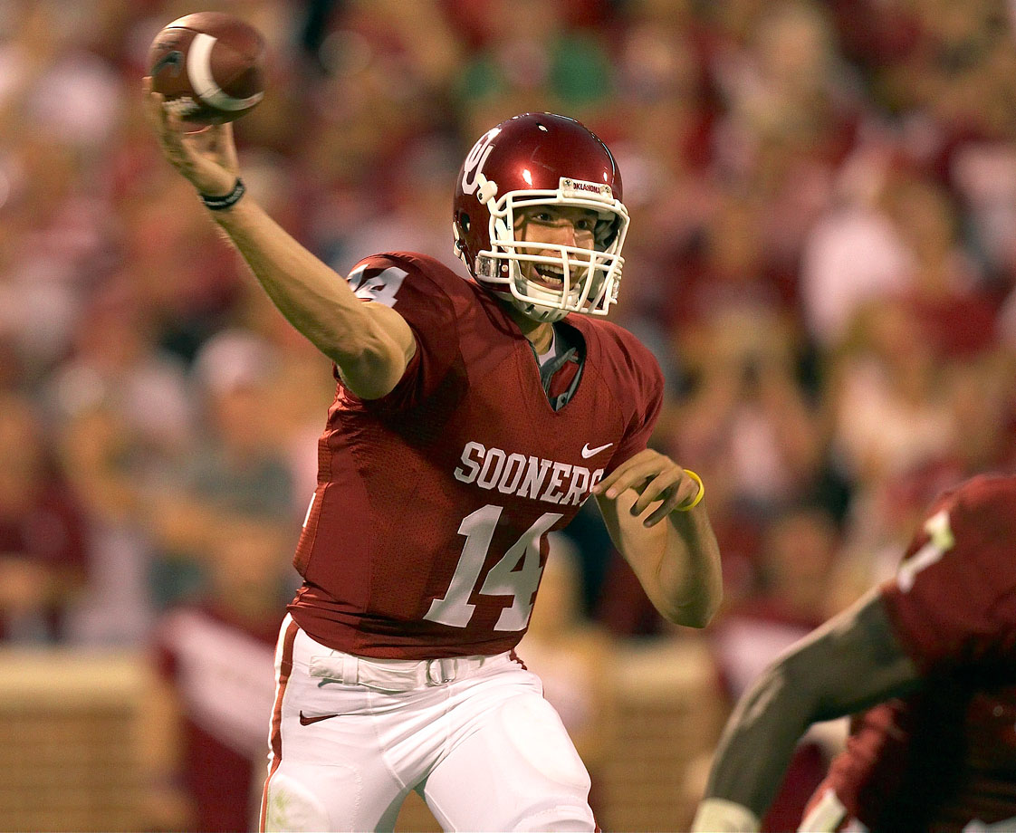 He piloted one of the most explosive offenses in college football history. With Bradford under center in 2008, Oklahoma led the nation with 99 touchdowns and 716 points over 14 games. Bradford won the Heisman Trophy that season but played in only three games in 2009 because of a shoulder injury. That didn't stop the Oklahoma City, Okla., native from breaking several school passing records before the end of his college career. — Runner-up: Don Hutson, End, Alabama (1932-34)