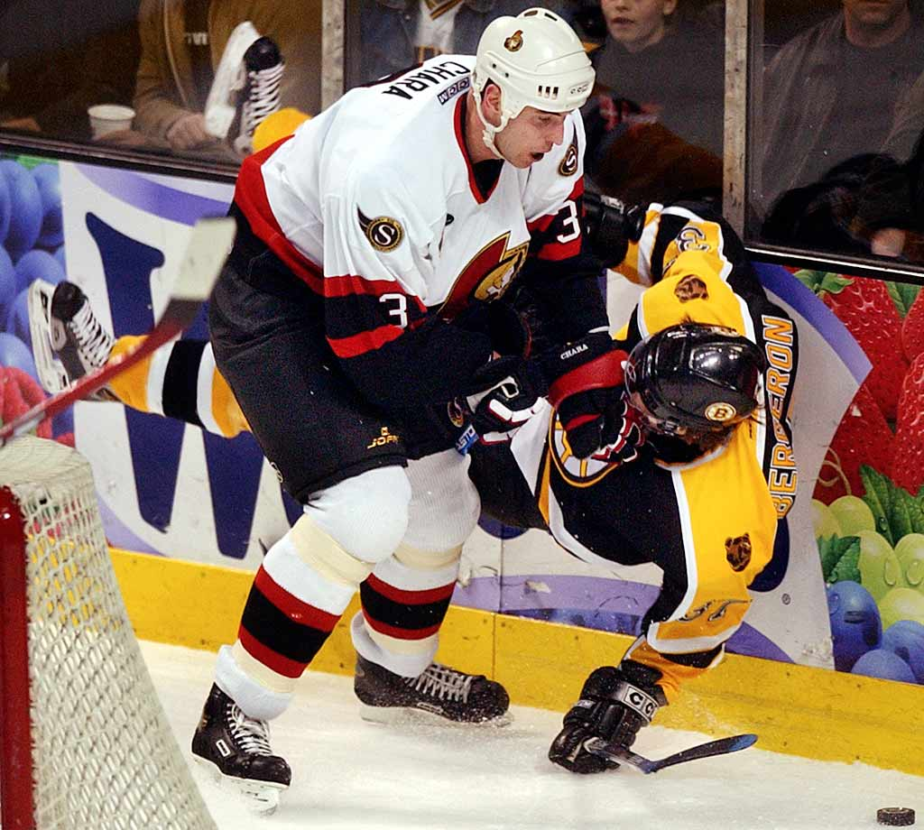 "The towering 6'-9"" defenseman was coming into his own at the time of the lockout, having been named a First Team All-Star with Ottawa the previous season, his seventh in the NHL. He'd finished second in the voting for the 2004 Norris Trophy, an award he later won with Boston in 2009. (He's been a finalist six times.) Chara has won the league's hardest-shot competition at the All-Star Game five times. His blast of 108.8 miles-per-hour in 2012 remains the hardest shot on record."