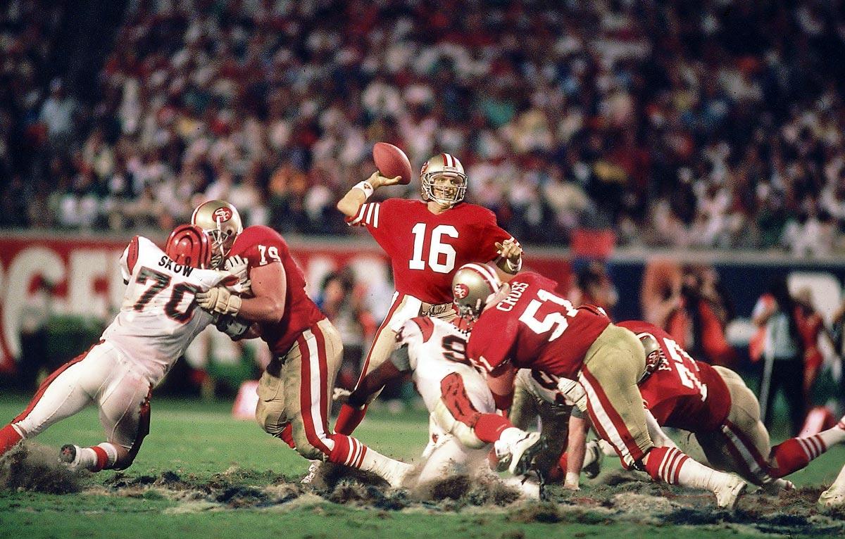 Super Bowl XXIII, Jan. 22, 1989 | San Francisco 49ers quarterback Joe Montana leads his team down the field in the closing minutes against the Cincinnati Bengals in Super Bowl XXIII. With only 3:10 left in the game, Montana marched the 49ers 92 yards down the field to beat the Bengals 20-16.