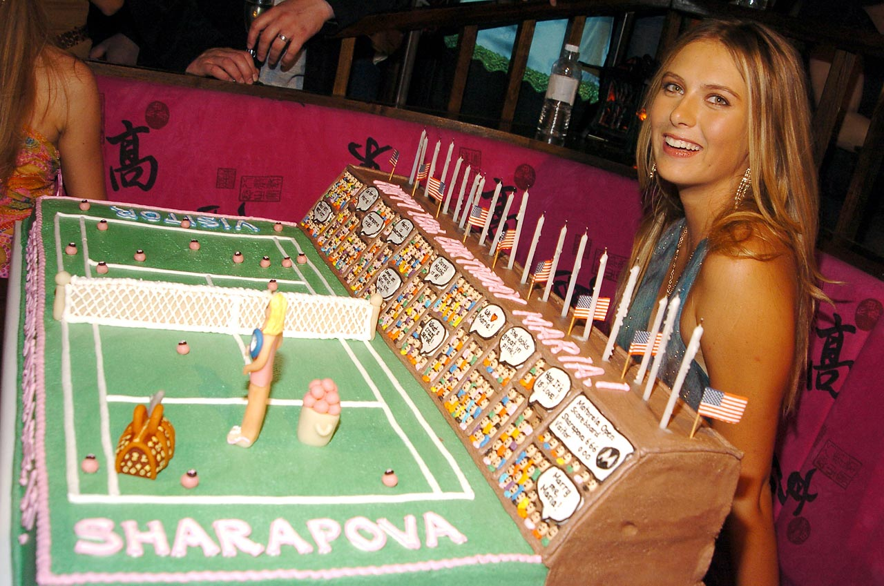 The Sharapova tennis cake was made for her 18th birthday, which was sponsored by Motorola at the Hiro Ballroom in New York City.