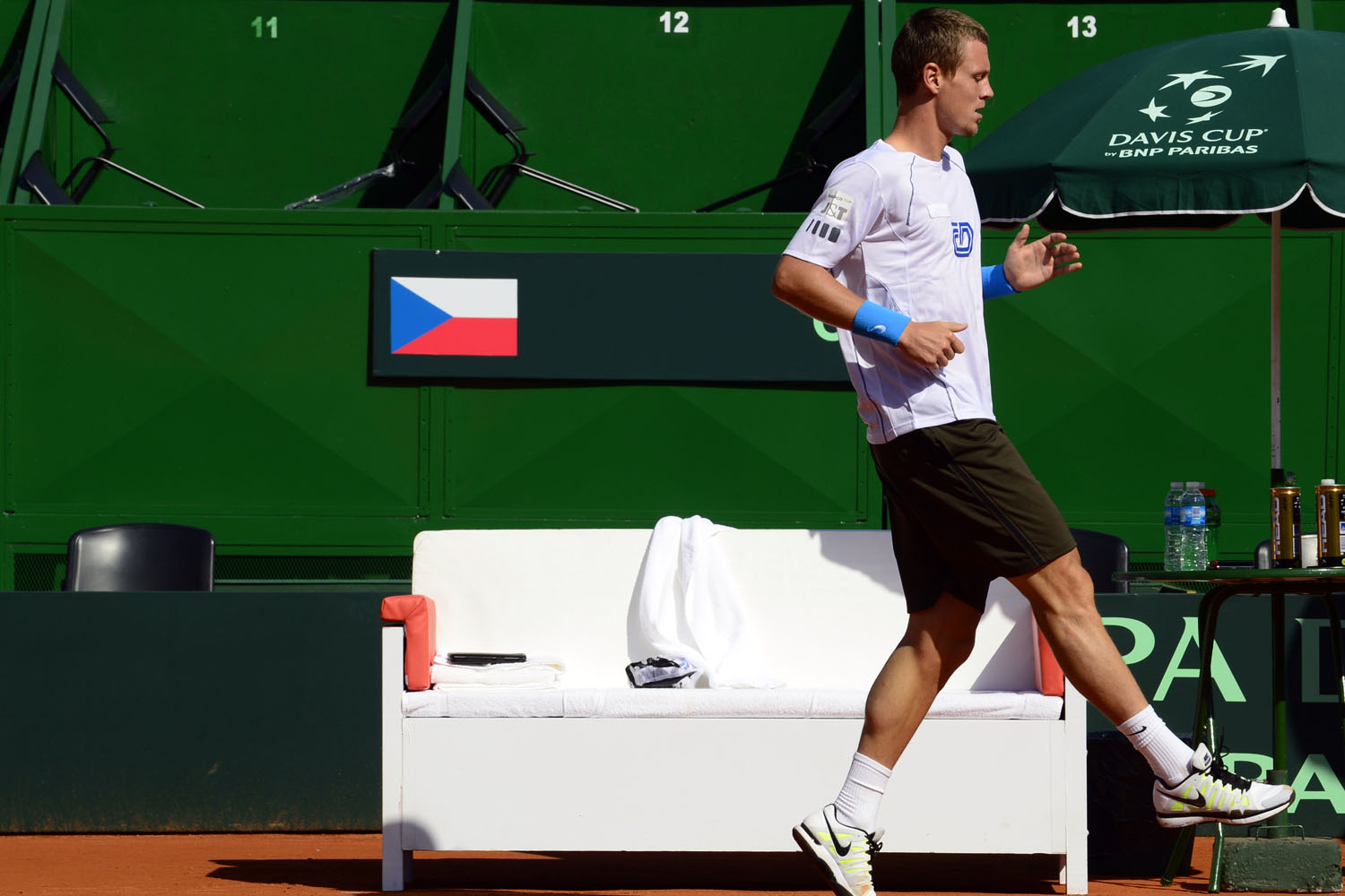 Tomas Berdych does some agility drills during a training session in the central court of the Mary Teran de Weiss stadium in Buenos Aires in September 2012.
