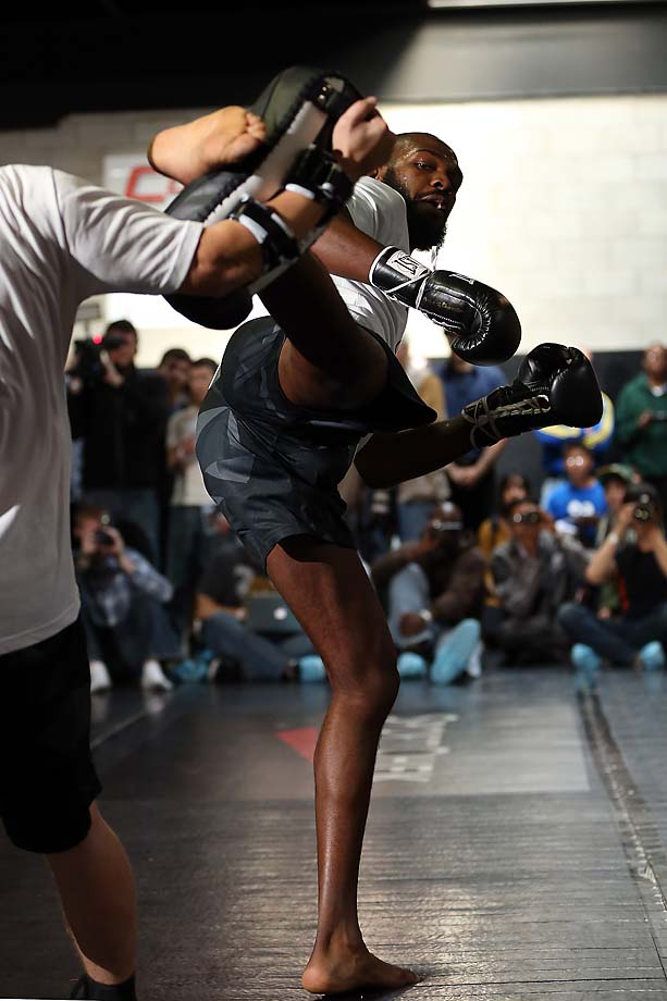 Jon Jones at an open workout ahead of his UFC 152 fight with Vitor Belfort.
