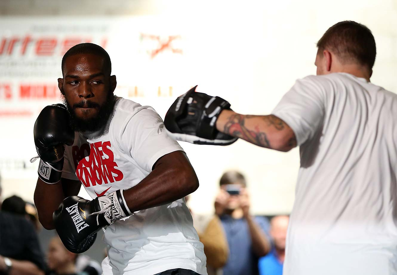 Jones in an open workout prior to UFC 165 where he fought Alexander Gustafsson for the UFC light heavyweight championship.