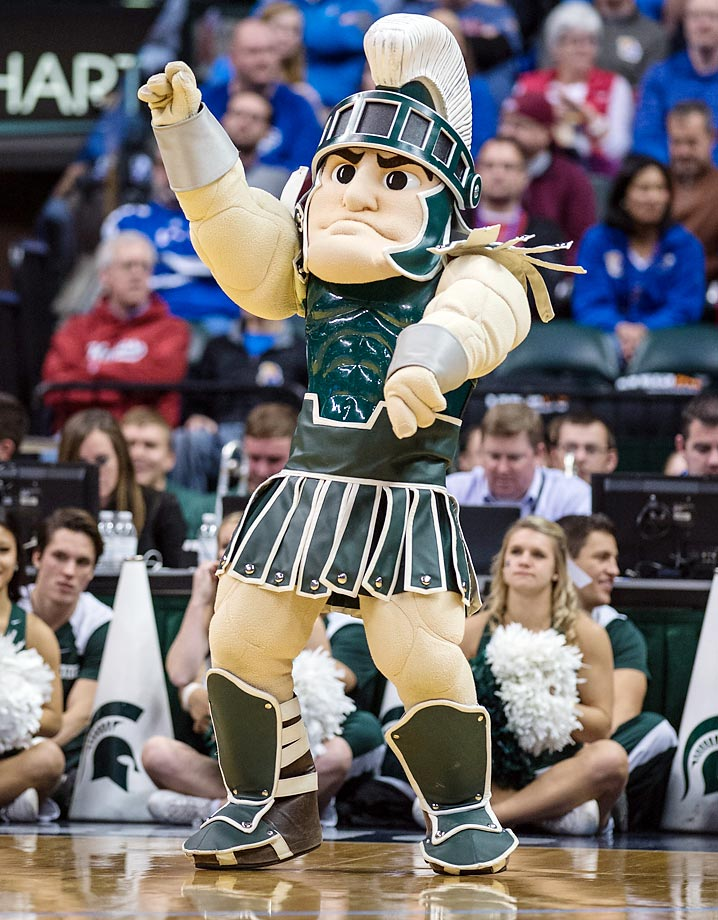 If Duke's mascot will destroy you, then Sparty will somehow find a way to do something worse than destruction. The guy's biceps rival those of LaRon Landry and his overall costume is just beautiful. He's No. 1 for a reason. (Text credit: Andrew S. Doughty/NextImpuseSports.com)
