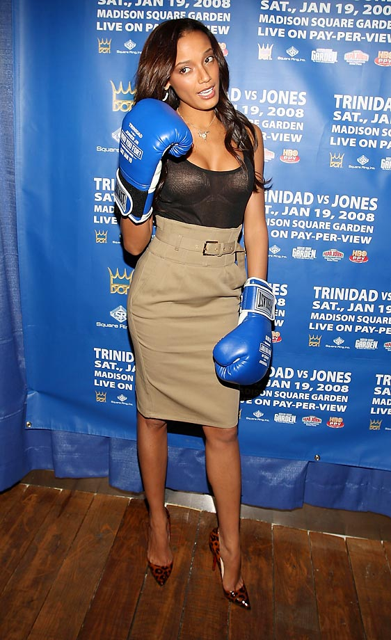 Model Selita Ebanks shows her boxing love in New York.