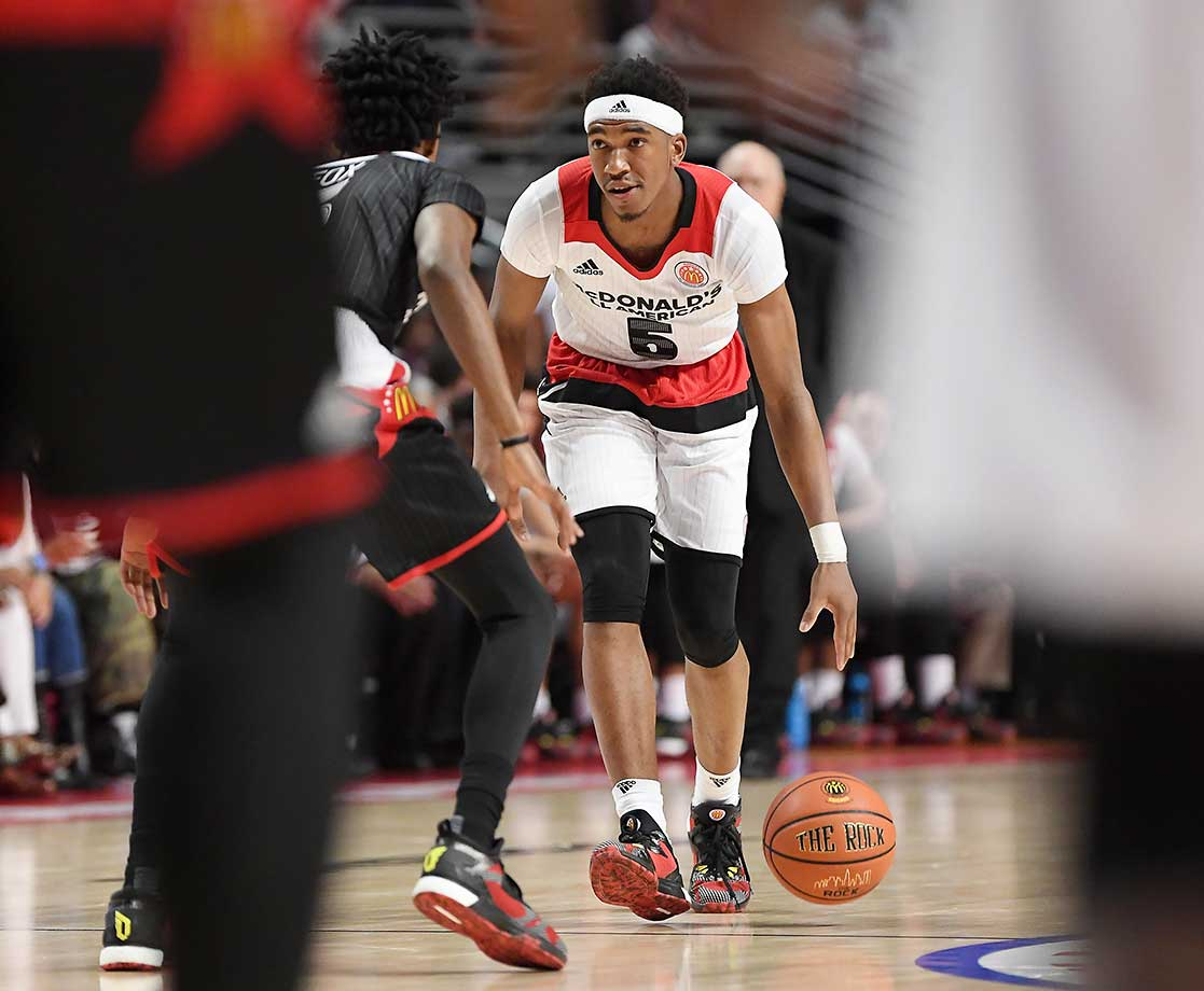 McDonald's All American Malik Monk brings the ball up court at the United Center in Chicago.