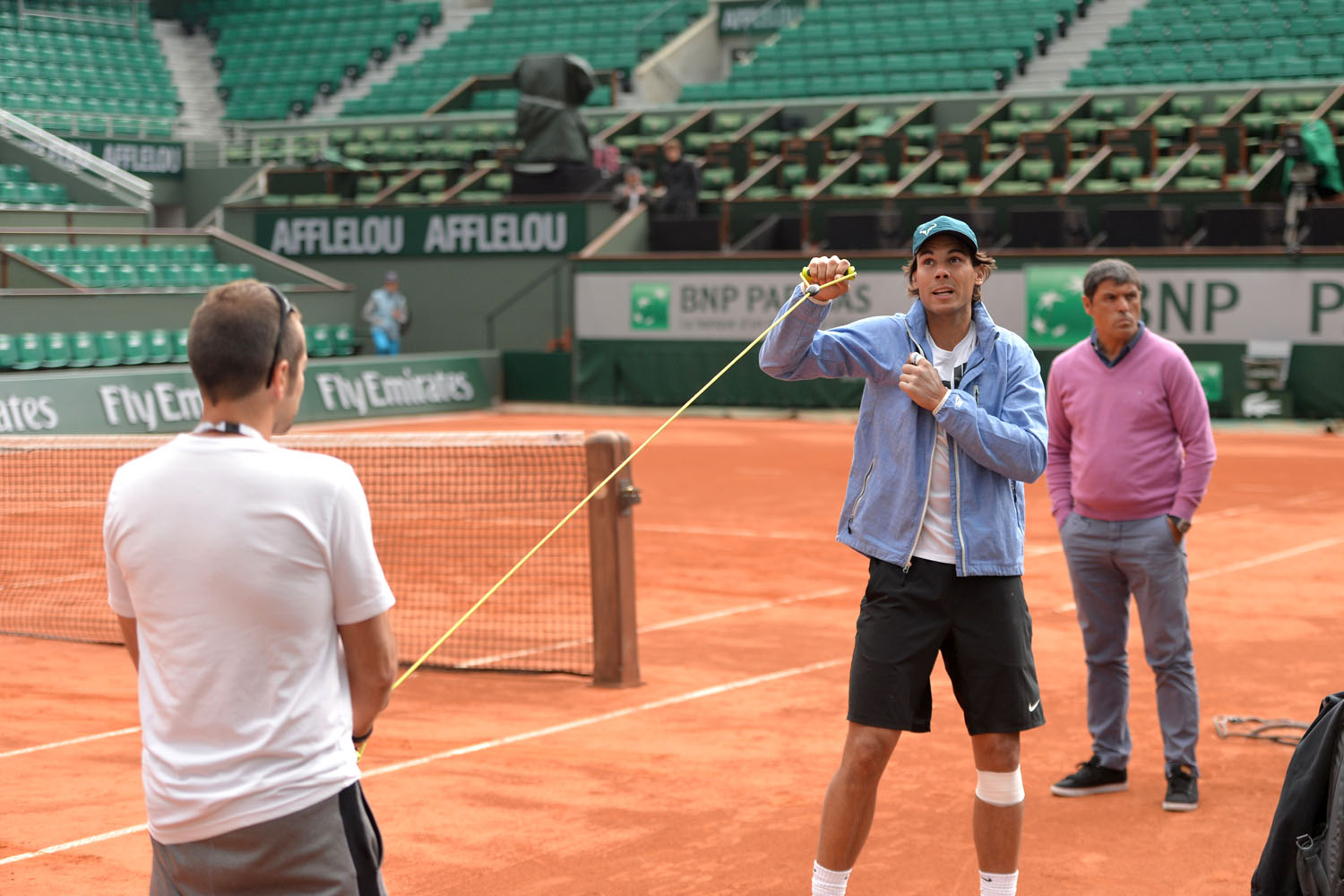 Tennis pro Rafael Nadal takes part in a training session before the French Tennis Open at the Roland Garros stadium in Paris on May 23, 2013.
