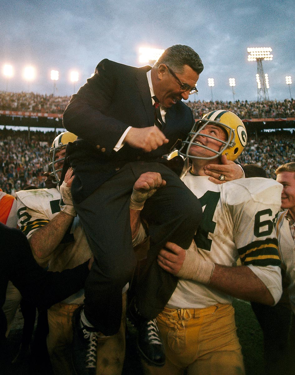 Super Bowl II, Jan. 14, 1968 | The Green Bay Packers carry head coach Vince Lombardi off the field after their 33-14 victory over the Oakland Raiders. It was the Packers second consecutive Super Bowl victory.