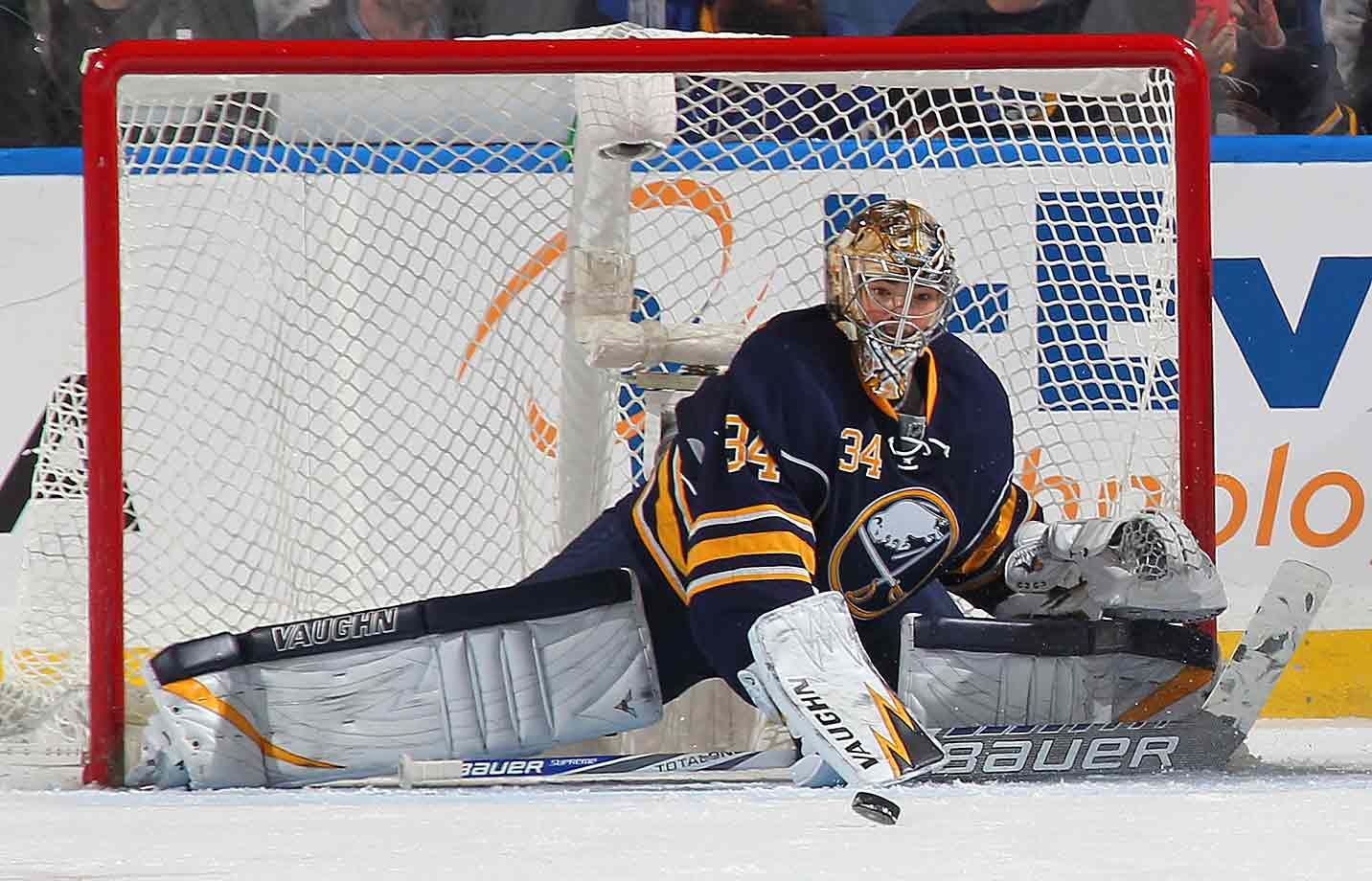 The Sabres netminder was the splitting image of efficiency as he made a save during the third period against the Canadiens at the First Niagara Center in Buffalo on November 5, 2014.