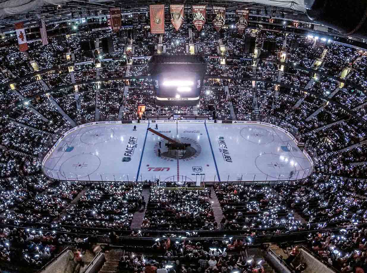 The Senators' home arena was aglow on Oct. 25 as part of a tribute held simultaneously in Montreal and Toronto to Canadian soldiers slain in shooting incidents.