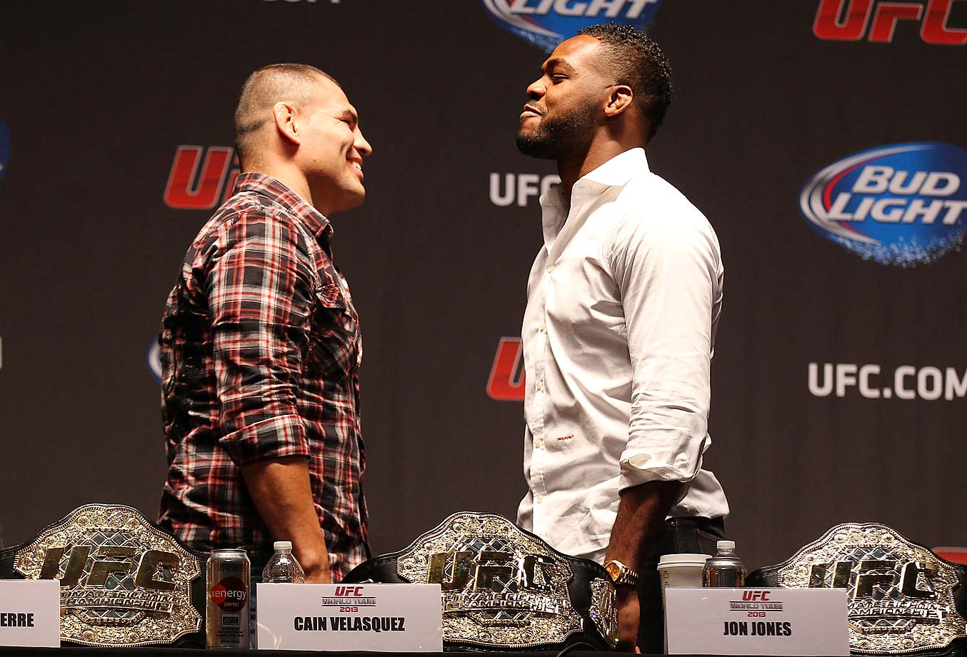 In what could be a potential dream fight, Jones has a face off with Cain Velasquez at a press conference in New York City.