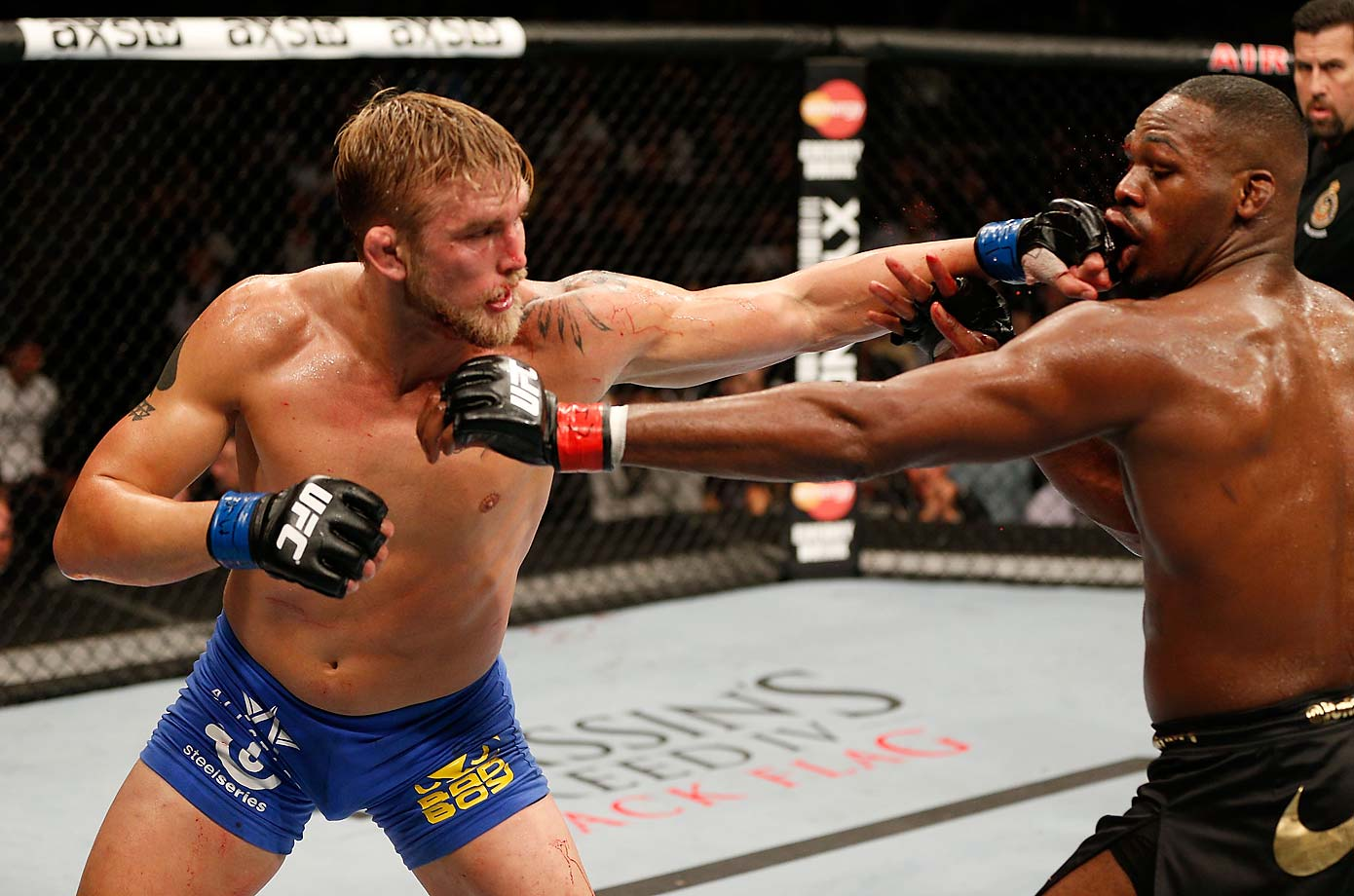 Jones and Gustafsson tag each other with a punch in their memorable fight in the main event of UFC 165.